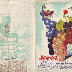 Carteles Feria: JEREZ DE LA FRONTERA. CARTEL ANUNCIADOR DE LA II FIESTA DE LA VENDIMIA 1949. Lote 26735467