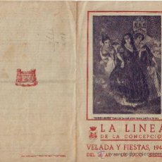 Carteles Feria: LA LINEA DE LA CONCEPCIÓN. DIPTICO VELADA Y FIESTAS 1942. Lote 26941381
