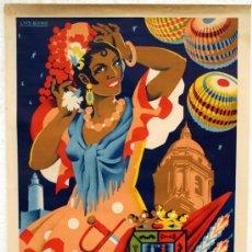 Carteles Feria: CARTEL FERIAS Y FIESTAS MALAGA , 1958, LITOGRAFIA , ORIGINAL , ILUSTRADOR LUIS BONO. Lote 26414268