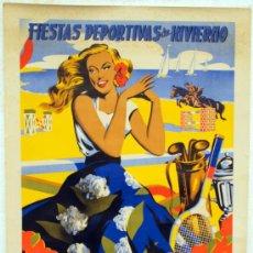 Carteles Feria: CARTEL FERIAS Y FIESTAS MALAGA DEPORTIVAS, 1955, LITOGRAFIA ,ORIGINAL,TENIS GOLF VELA HIPICA. Lote 26414400