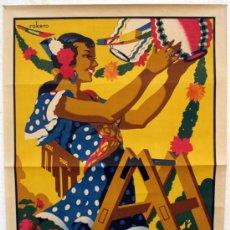 Carteles Feria: CARTEL FERIAS Y FIESTAS MALAGA , 1957, LITOGRAFIA ,ORIGINAL,ILUSTRADO POR ROKERO. Lote 26414653