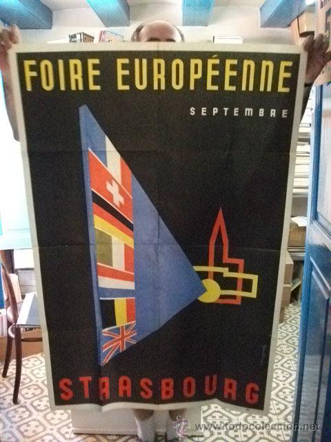 CARTEL FOIRE EUROPÉENNE STRASBOURG 1952 (Coleccionismo - Carteles Gran Formato - Carteles Ferias, Fiestas y Festejos)