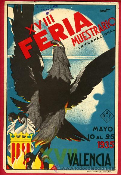 CARTEL FERIA MUESTRARIO DE VALENCIA ,1935, ILUSTRADO POR CANET, ORIGINAL (Coleccionismo - Carteles Gran Formato - Carteles Ferias, Fiestas y Festejos)