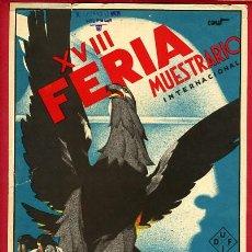 Carteles Feria: CARTEL FERIA MUESTRARIO DE VALENCIA ,1935, ILUSTRADO POR CANET, ORIGINAL. Lote 27811073
