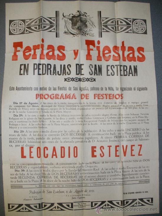 GRAN CARTEL DE FERIAS Y FIESTAS DE PEDRAJAS DE SAN ESTEBAN.(VALLADOLID) AÑO 1951. (Coleccionismo - Carteles Gran Formato - Carteles Ferias, Fiestas y Festejos)