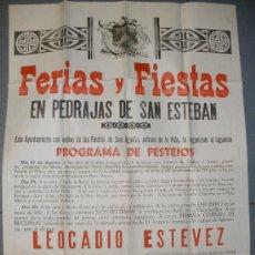 Carteles Feria: GRAN CARTEL DE FERIAS Y FIESTAS DE PEDRAJAS DE SAN ESTEBAN.(VALLADOLID) AÑO 1951.. Lote 28492802