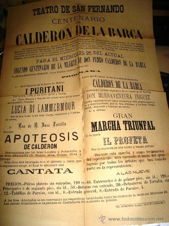 CARTEL DEL TEATRO DE SAN FERNANDO CON MOTIVO DEL CENTENARIO DE CALDERON DE LA BARCA 1881 (Coleccionismo - Carteles Gran Formato - Carteles Ferias, Fiestas y Festejos)