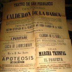 Carteles Feria: CARTEL DEL TEATRO DE SAN FERNANDO CON MOTIVO DEL CENTENARIO DE CALDERON DE LA BARCA 1881. Lote 28673078