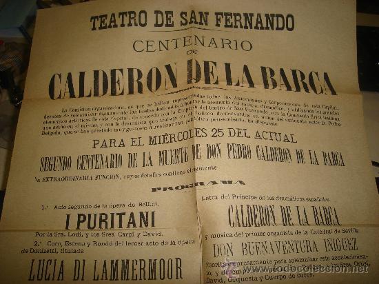 Carteles Feria: CARTEL DEL TEATRO DE SAN FERNANDO CON MOTIVO DEL CENTENARIO DE CALDERON DE LA BARCA 1881 - Foto 2 - 28673078