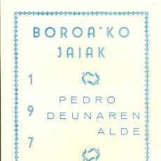 Carteles Feria: PROGRAMA DE FIESTAS. BOROA´KO JAIAK - PEDRO DEUNAREN ATDE 1977. Lote 28696836