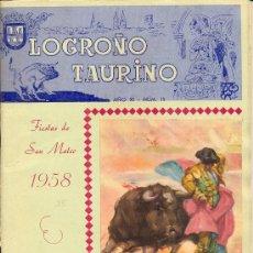 Carteles Feria: PROGRAMA DE FERIA Y FIESTAS DE SAN MATEO 1957 . LOGROÑO TAURINO. Lote 28708280