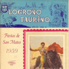 Carteles Feria: PROGRAMA DE FERIA Y FIESTAS DE SAN MATEO 1959 . LOGROÑO TAURINO. Lote 28708307