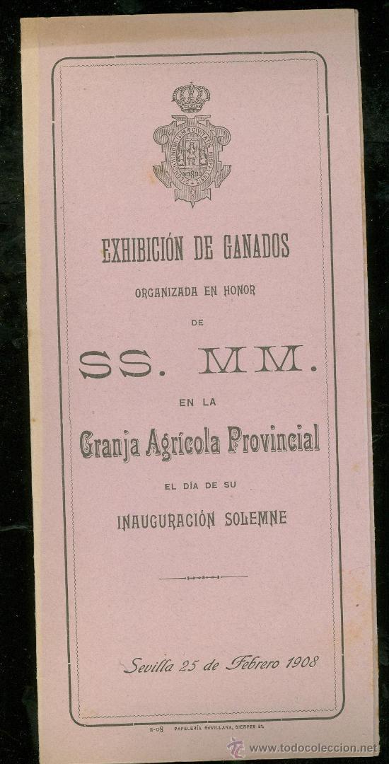 EXHIBICIÓN DE GANADO, SEVILLA 1908, EN HONOR DE SS. MM. CABALLOS Y GANADO LANAR Y VACUNO (Coleccionismo - Carteles Gran Formato - Carteles Ferias, Fiestas y Festejos)