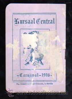 SEVILLA. CARNAVAL 1916. KURSAAL. PROGRAMACION (VER FOTOS). (Coleccionismo - Carteles Gran Formato - Carteles Ferias, Fiestas y Festejos)