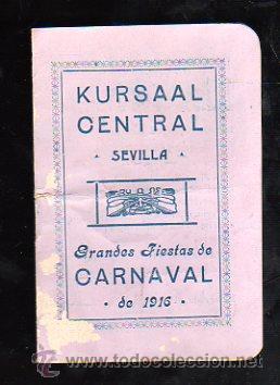 Carteles Feria: SEVILLA. CARNAVAL 1916. KURSAAL. PROGRAMACION (VER FOTOS). - Foto 5 - 28842776