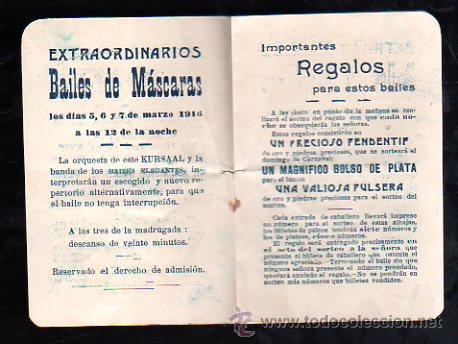 Carteles Feria: SEVILLA. CARNAVAL 1916. KURSAAL. PROGRAMACION (VER FOTOS). - Foto 4 - 28842776