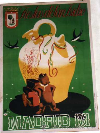CARTEL FIESTAS DE SAN ISIDRO. MADRID 1951. 100 X 70 CM . ILUSTRADOR ECHANOVE CIMA. (Coleccionismo - Carteles Gran Formato - Carteles Ferias, Fiestas y Festejos)