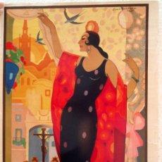 Carteles Feria: CARTEL SEVILLA 1932 FIESTAS PRIMAVERA Y SEMANA SANTA , ILUSTRADOR JUAN BALCERA. Lote 29290257