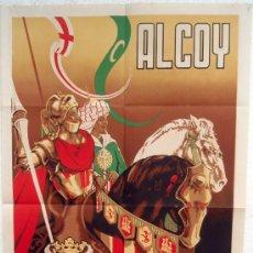 Carteles Feria: CARTEL ALCOY 1950 , FIESTAS MOROS Y CRISTIANOS, ALICANTE, ILUSTRADOR OLBE , ORIGINAL. Lote 29321347