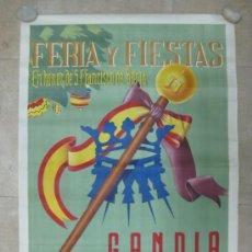 Carteles Feria: GANDIA (VALENCIA) - FERIA Y FIESTAS EN HONOR DE SAN FRANCISCO DE BORJA - AÑO 1952. Lote 30983959