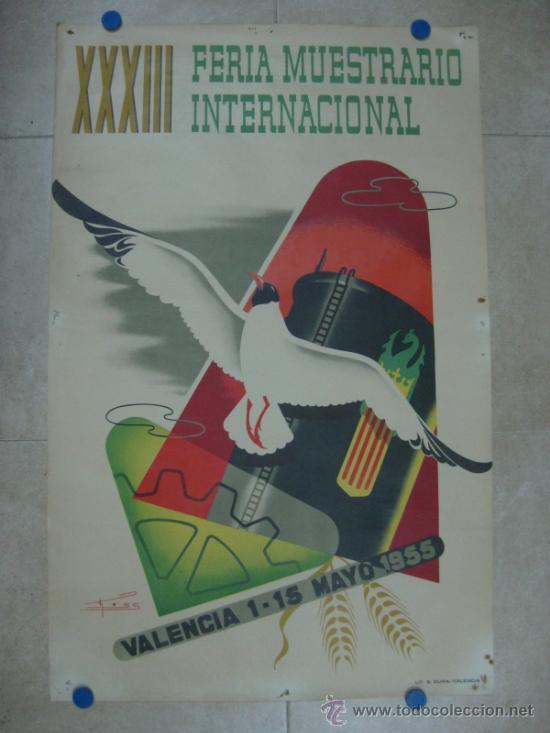 VALENCIA - XXXIII FERIA MUESTRARIO INTERNACIONAL - AÑO 1955 (Coleccionismo - Carteles Gran Formato - Carteles Ferias, Fiestas y Festejos)