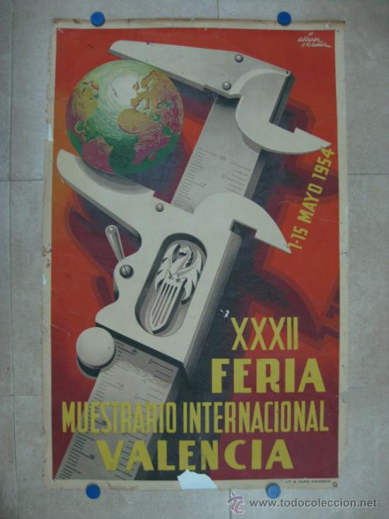 VALENCIA - XXXII FERIA MUESTRARIO INTERNACIONAL - AÑO 1954 (Coleccionismo - Carteles Gran Formato - Carteles Ferias, Fiestas y Festejos)