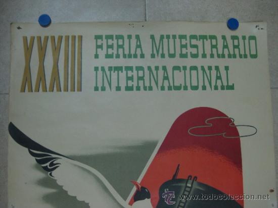 Carteles Feria: VALENCIA - XXXIII FERIA MUESTRARIO INTERNACIONAL - AÑO 1955 - Foto 2 - 31344976