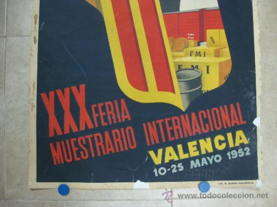Carteles Feria: VALENCIA - XXX FERIA MUESTRARIO INTERNACIONAL - AÑO 1952 - Foto 3 - 31345159