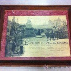 Carteles Feria: CARTEL FERIA EXPOSICION INTERNACIONAL BARCELONA 1888 ENMARCADO. Lote 32407381