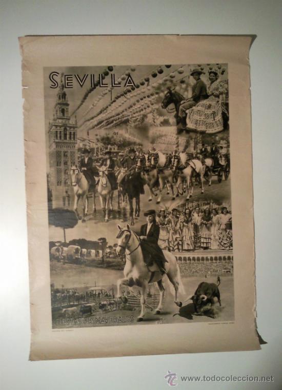 CARTEL SEVILLA FIESTAS DE PRIMAVERA AÑOS 30 (Coleccionismo - Carteles Gran Formato - Carteles Ferias, Fiestas y Festejos)
