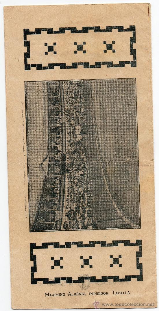 Carteles Feria: TAFALLA,PAMPLONA,1927,PROGRAMA DE FESTEJOS, MAGNIFICO - Foto 2 - 33273106