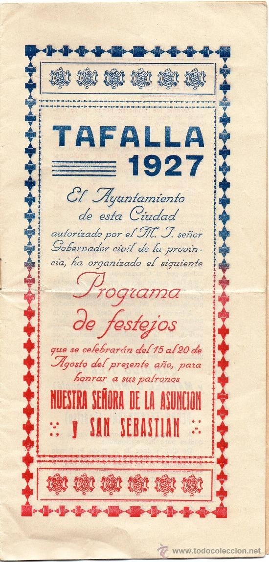 Carteles Feria: TAFALLA,PAMPLONA,1927,PROGRAMA DE FESTEJOS, MAGNIFICO - Foto 3 - 33273106