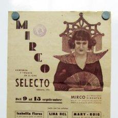 Affiches Foire: CARTEL DE ESPECTÁCULOS DONDE APARECE EL CONOCIDO MIRCO. AÑOS 40.. Lote 33283114