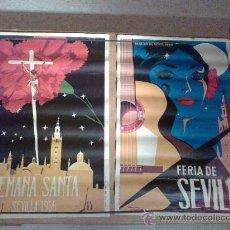 Carteles Feria: LOTE 2 CARTELES SEMANA SANTA Y FERIA DE ABRIL AÑO 1966. Lote 112738203