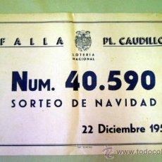 Carteles Feria: CARTEL PUBLICITARIO, FALLA PLAZA DEL CAUDILLO, SORTEO DE NAVIDAD, 1946. Lote 33806020