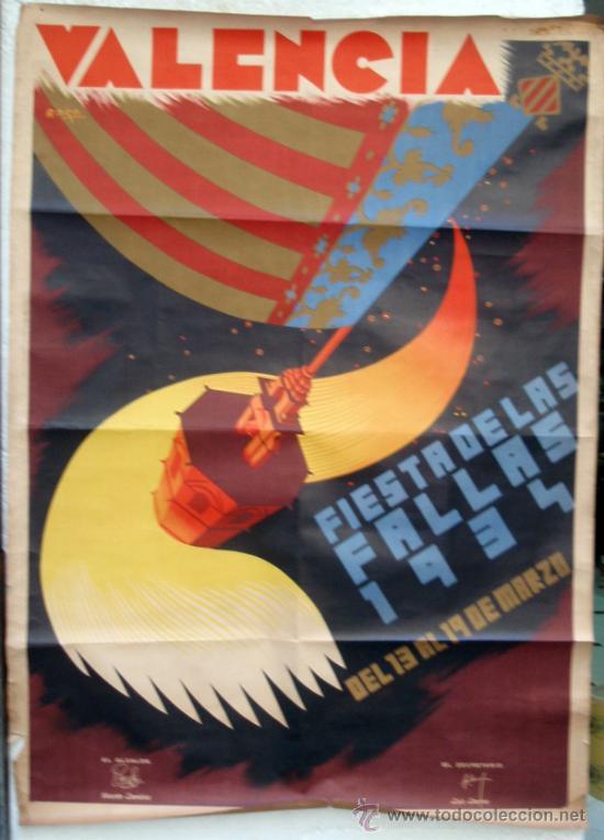 CARTEL FALLAS VALENCIA 1934, GRANDE , ILUSTRADOR RAGA , ORIGINAL (Coleccionismo - Carteles Gran Formato - Carteles Ferias, Fiestas y Festejos)