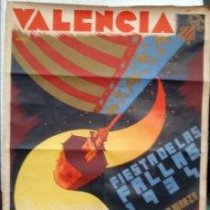 Carteles Feria: CARTEL FALLAS VALENCIA 1934, GRANDE , ILUSTRADOR RAGA , ORIGINAL. Lote 34265746