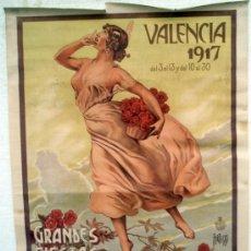 Carteles Feria: CARTEL FIESTAS DE MAYO Y FERIA MUESTRARIO, VALENCIA 1917 , ILUSTRA PERTEGAS, LITOGRAFIA , ORIGINAL. Lote 34265974