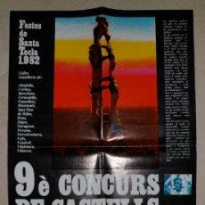 Carteles Feria: 9È CONCURS CASTELLS TARRAGONA FESTES DE SANTA TECLA 1982 32'7X48 CMS. Lote 34636724