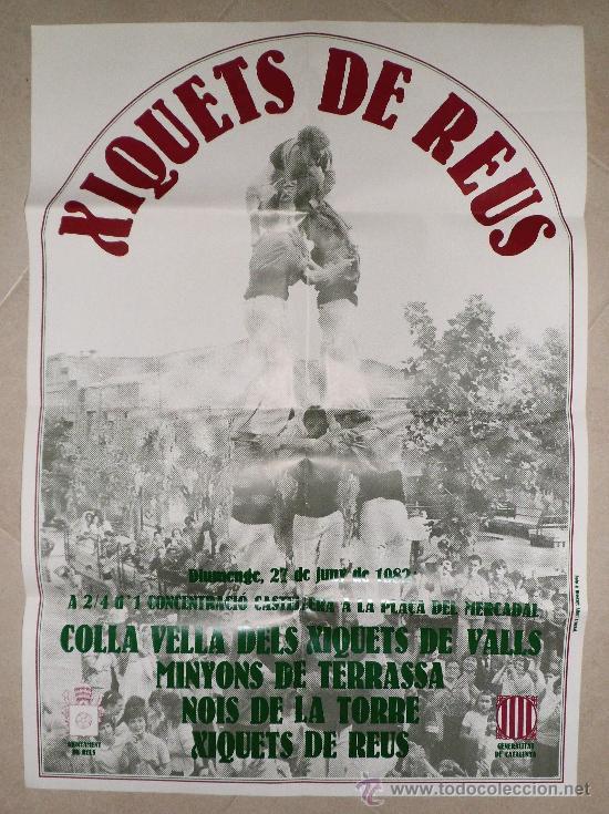 CONCENTRACIO CASTELLERA 1982 XIQUETS DE REUS MINYONS TERRASSA NOIS DE LA TORRE COLLA VELLA DE VALLS (Coleccionismo - Carteles Gran Formato - Carteles Ferias, Fiestas y Festejos)