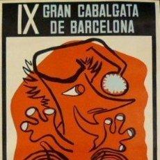 Carteles Feria: CARTEL IX CABALGATA DE BARCELONA.1967. PLANASDURÀ.49X36. Lote 35324069