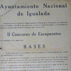 Carteles Feria: CARTEL IGUALADA.II CONCURSO DE ESCAPARATES. CATALUNYA. IGUALADA. 1942. 37X50. Lote 35445308