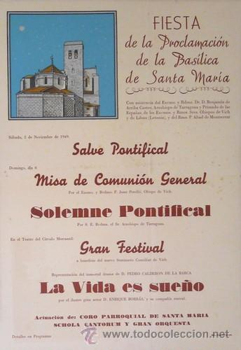 CARTEL IGUALADA.FIESTA PROCLAMACION BASILICA. IGUALADA. C.1950. 35X50 (Coleccionismo - Carteles Gran Formato - Carteles Ferias, Fiestas y Festejos)