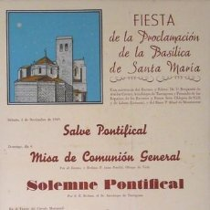 Carteles Feria: CARTEL IGUALADA.FIESTA PROCLAMACION BASILICA. IGUALADA. C.1950. 35X50. Lote 35445330