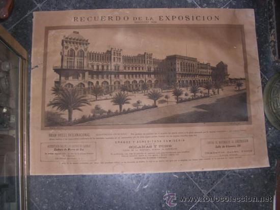 ANTIGUO CARTEL LITOGRAFICO RECUERDO DE LA EXPOSICION BARCELONA 1888 GRAN HOTEL INTERNACIONAL CONSTR. (Coleccionismo - Carteles Gran Formato - Carteles Ferias, Fiestas y Festejos)