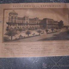 Carteles Feria: ANTIGUO CARTEL LITOGRAFICO RECUERDO DE LA EXPOSICION BARCELONA 1888 GRAN HOTEL INTERNACIONAL CONSTR.. Lote 36276466