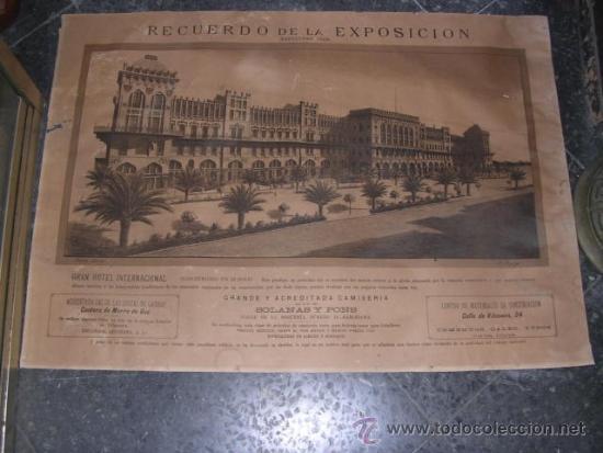 Carteles Feria: ANTIGUO CARTEL LITOGRAFICO RECUERDO DE LA EXPOSICION BARCELONA 1888 GRAN HOTEL INTERNACIONAL CONSTR. - Foto 2 - 36276466