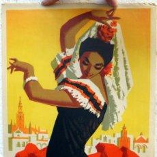 Carteles Feria: CARTEL FERIAS Y FIESTAS, FERIA SEVILLA 1959 , M. FLORES ,ORIGINAL, A. Lote 36595729
