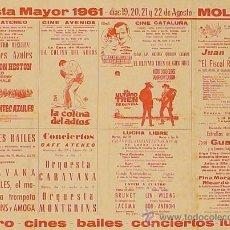 Carteles Feria: CARTEL FIESTA MAYOR 1961 - MOLLET. Lote 36954883
