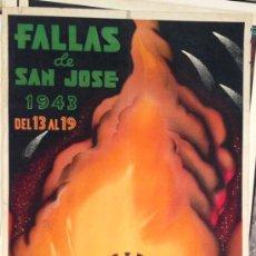 Carteles Feria: CARTEL FALLAS VALENCIA 1943, LITOGRÁFICO . 100X62 CM. ORIGINAL ANTIGUO DE ÉPOCA. Lote 37140238